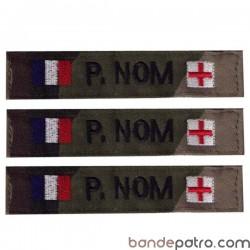Bande patro tissu CE broderie double drapeaux