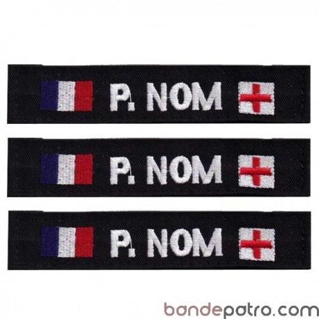 Bande patro tissu noir double drapeaux