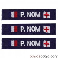 Bande patro tissu bleu double drapeaux