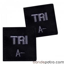 Trigramme tissu noir fil gris (x2)