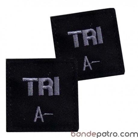 Trigramme velcro noir fil gris