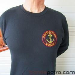 Sweat shirt brodé logo Troupes de Marine Bazeilles